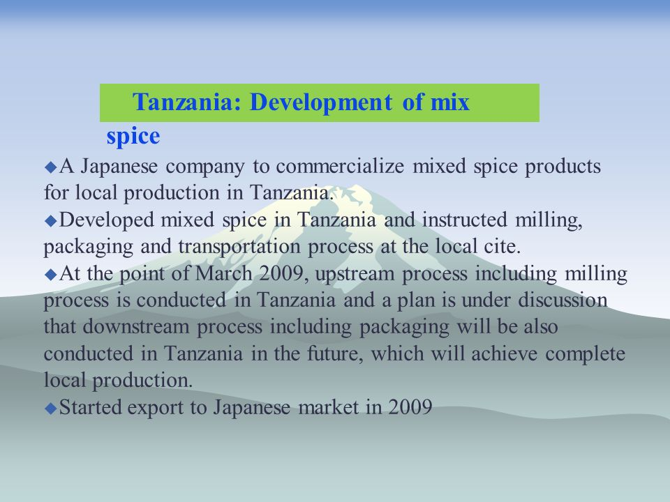 A Japanese company to commercialize mixed spice products for local production in Tanzania.