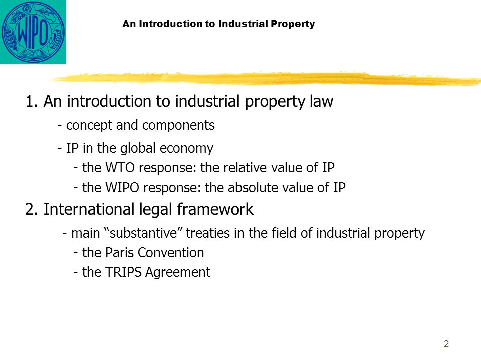 2 An Introduction to Industrial Property 1.