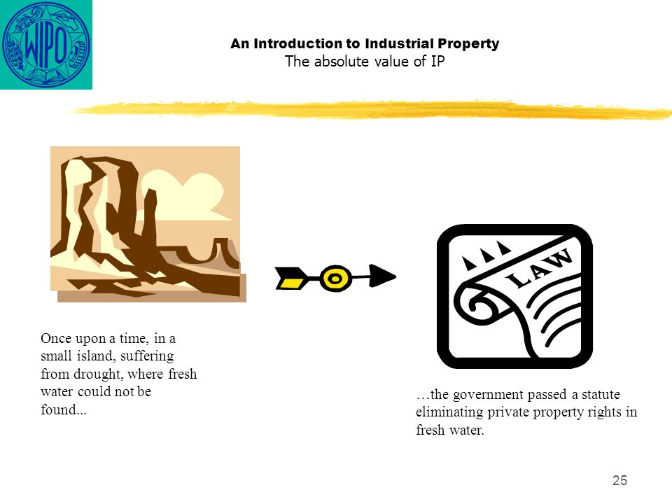25 An Introduction to Industrial Property The absolute value of IP Once upon a time, in a small island, suffering from drought, where fresh water could not be found...