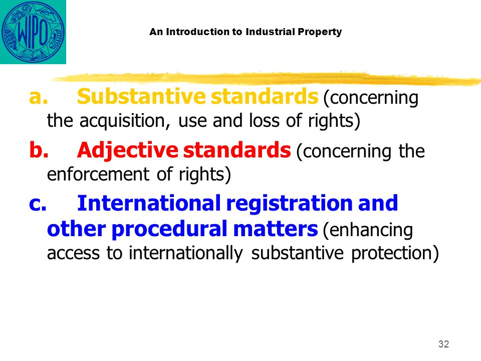 32 An Introduction to Industrial Property a.Substantive standards (concerning the acquisition, use and loss of rights) b.Adjective standards (concerning the enforcement of rights) c.International registration and other procedural matters (enhancing access to internationally substantive protection)