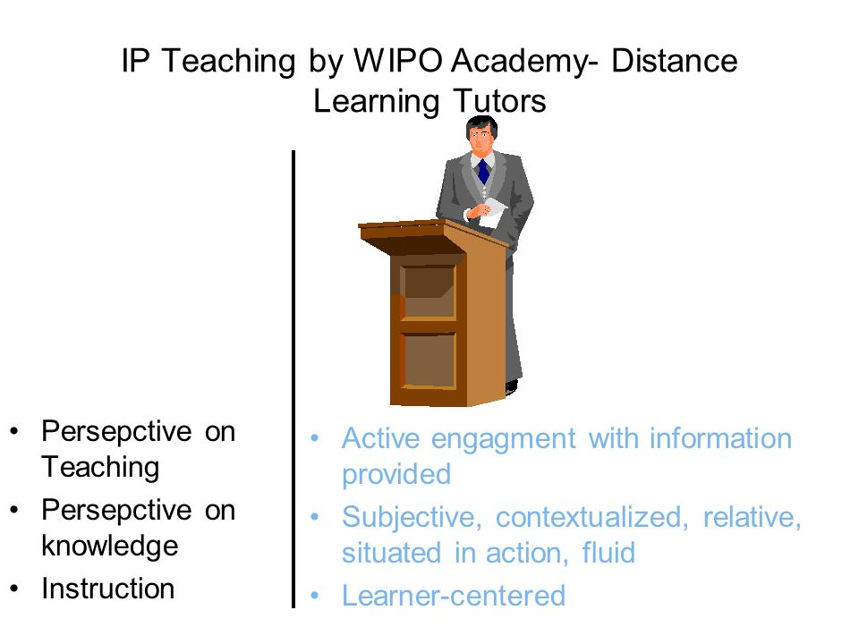 IP Teaching by WIPO Academy- Distance Learning Tutors Persepctive on Teaching Persepctive on knowledge Instruction Active engagment with information provided Subjective, contextualized, relative, situated in action, fluid Learner-centered