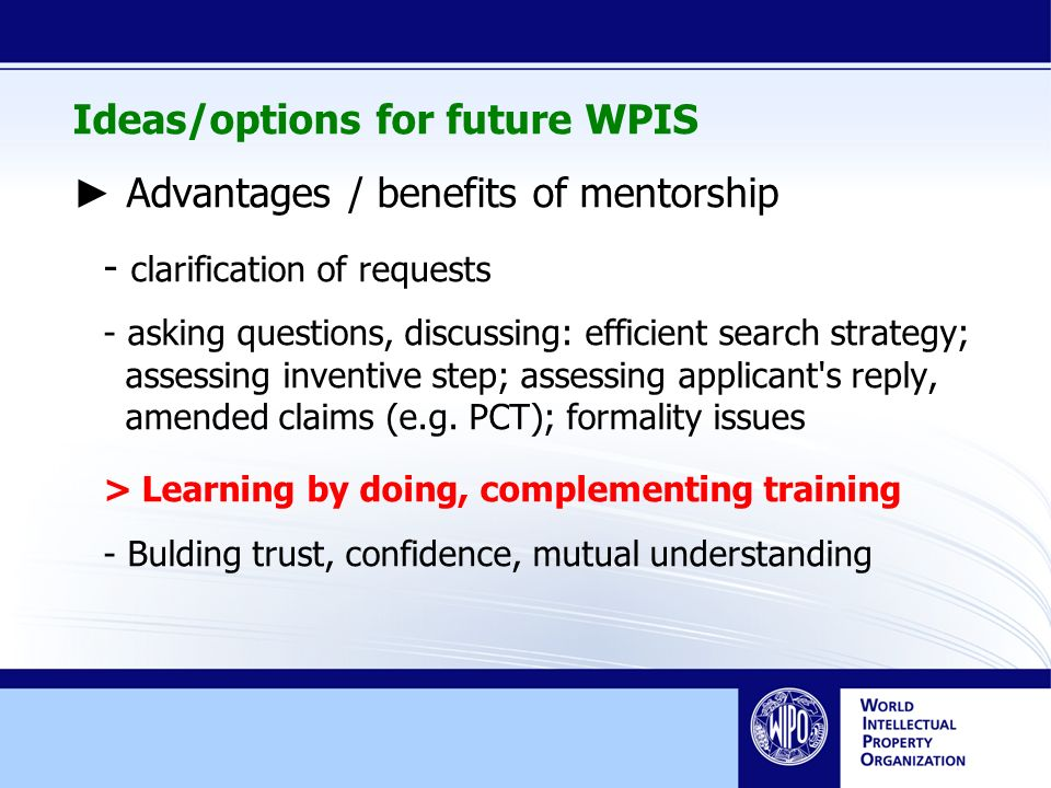 Ideas/options for future WPIS Advantages / benefits of mentorship - clarification of requests - asking questions, discussing: efficient search strategy; assessing inventive step; assessing applicant s reply, amended claims (e.g.