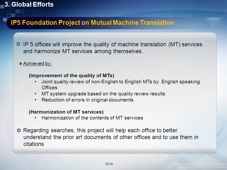Introduction Global Efforts 1 1 3 3 KIPOs Activities 2 2 IP5 Foundation Project on Mutual Machine Translation 3.1 Cross-Lingual Information Retrieval 3.2 Conclusion 4 4 29/34
