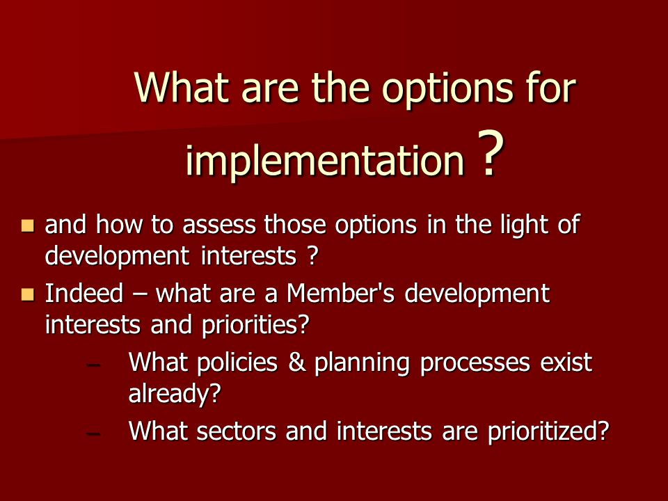 What are the options for implementation . What are the options for implementation .