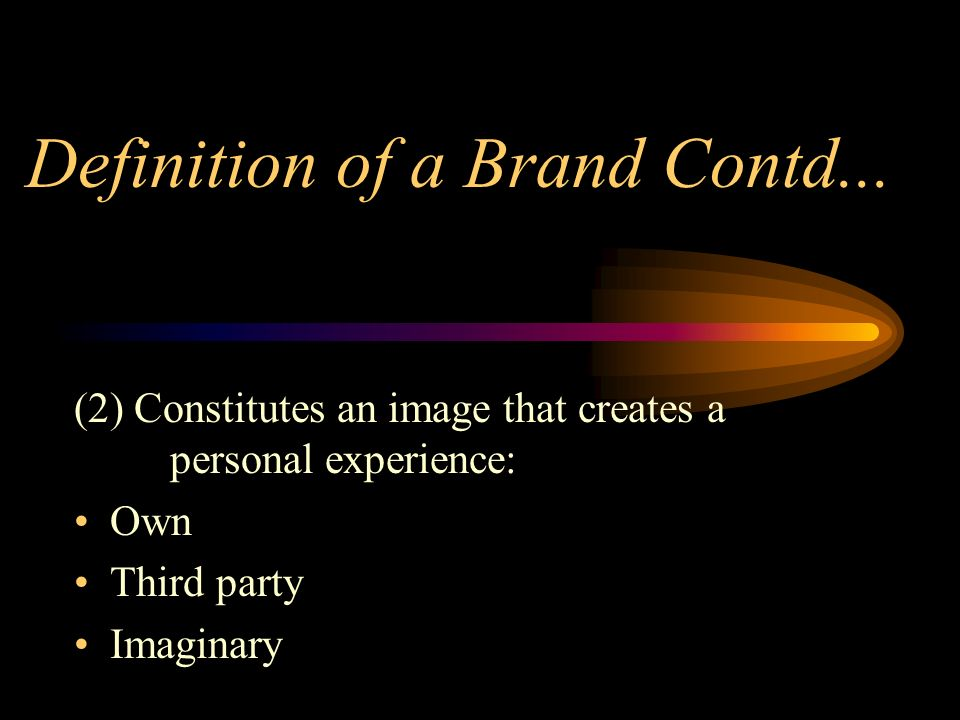 Definition of a Brand Contd...