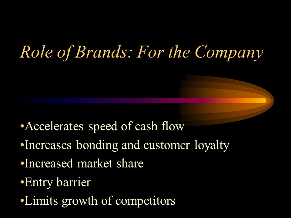 Role of Brands: For the Company Accelerates speed of cash flow Increases bonding and customer loyalty Increased market share Entry barrier Limits growth of competitors