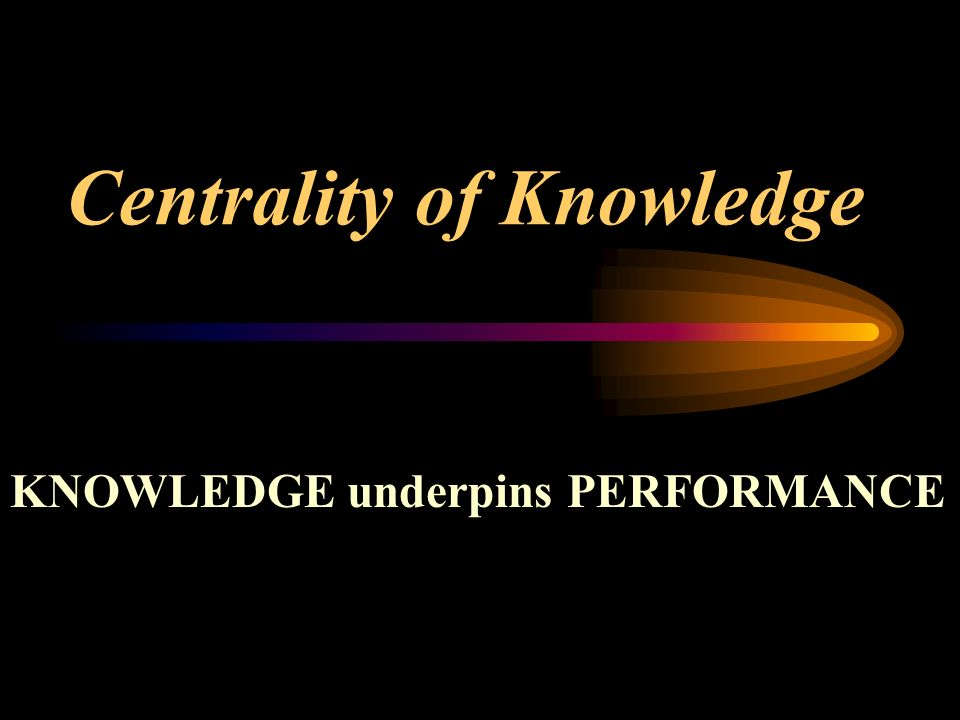 Centrality of Knowledge KNOWLEDGE underpins PERFORMANCE