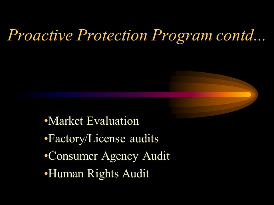 Proactive Protection Program contd...