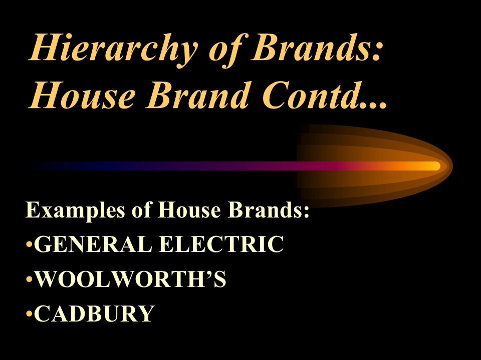 Hierarchy of Brands: House Brand Contd...