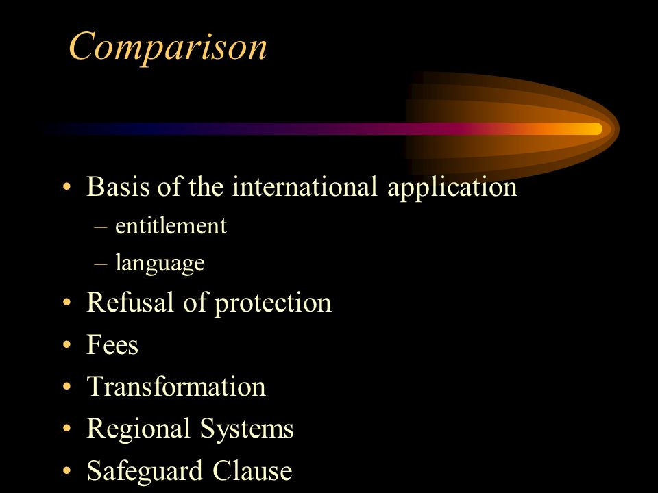 Basis of the international application –entitlement –language Refusal of protection Fees Transformation Regional Systems Safeguard Clause