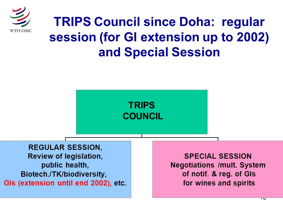16 TRIPS Council since Doha: regular session (for GI extension up to 2002) and Special Session TRIPS COUNCIL REGULAR SESSION, Review of legislation, public health, Biotech./TK/biodiversity, GIs (extension until end 2002), etc.