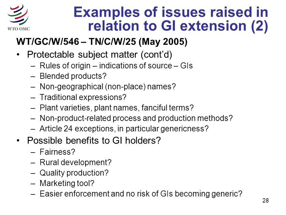 28 Examples of issues raised in relation to GI extension (2) WT/GC/W/546 – TN/C/W/25 (May 2005) Protectable subject matter (contd) –Rules of origin – indications of source – GIs –Blended products.