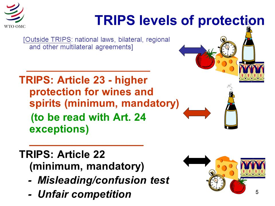 5 TRIPS levels of protection [Outside TRIPS: national laws, bilateral, regional and other multilateral agreements] ________________________ TRIPS: Article 23 - higher protection for wines and spirits (minimum, mandatory) (to be read with Art.