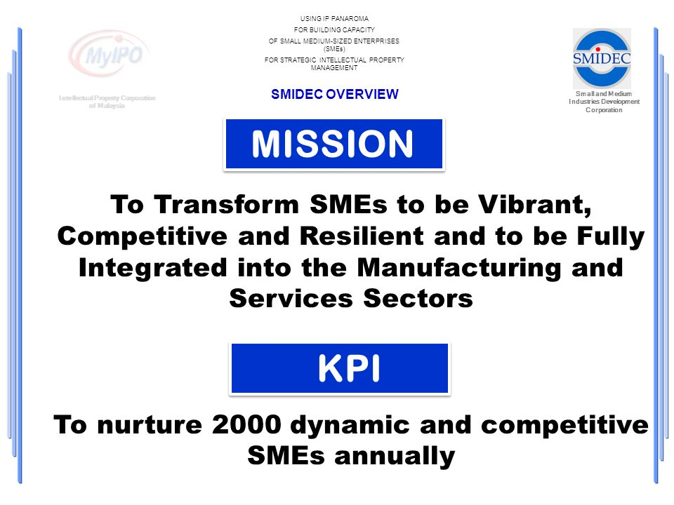 Small and Medium Industries Development Corporation Intellectual Property Corporation of Malaysia USING IP PANAROMA FOR BUILDING CAPACITY OF SMALL MEDIUM-SIZED ENTERPRISES (SMEs) FOR STRATEGIC INTELLECTUAL PROPERTY MANAGEMENT SMIDEC OVERVIEW MISSION To Transform SMEs to be Vibrant, Competitive and Resilient and to be Fully Integrated into the Manufacturing and Services Sectors To nurture 2000 dynamic and competitive SMEs annually KPI