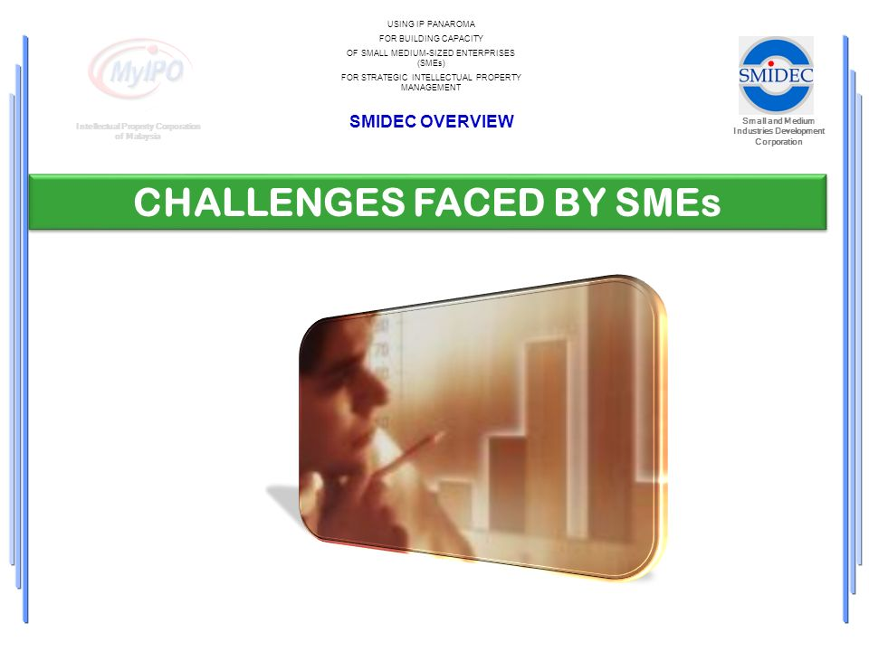 Small and Medium Industries Development Corporation Intellectual Property Corporation of Malaysia USING IP PANAROMA FOR BUILDING CAPACITY OF SMALL MEDIUM-SIZED ENTERPRISES (SMEs) FOR STRATEGIC INTELLECTUAL PROPERTY MANAGEMENT SMIDEC OVERVIEW CHALLENGES FACED BY SMEs