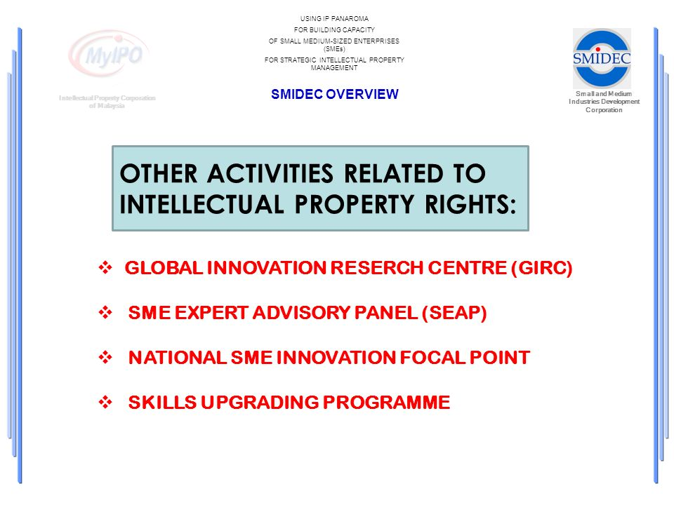 Small and Medium Industries Development Corporation Intellectual Property Corporation of Malaysia USING IP PANAROMA FOR BUILDING CAPACITY OF SMALL MEDIUM-SIZED ENTERPRISES (SMEs) FOR STRATEGIC INTELLECTUAL PROPERTY MANAGEMENT SMIDEC OVERVIEW GLOBAL INNOVATION RESERCH CENTRE (GIRC) SME EXPERT ADVISORY PANEL (SEAP) NATIONAL SME INNOVATION FOCAL POINT SKILLS UPGRADING PROGRAMME OTHER ACTIVITIES RELATED TO INTELLECTUAL PROPERTY RIGHTS:
