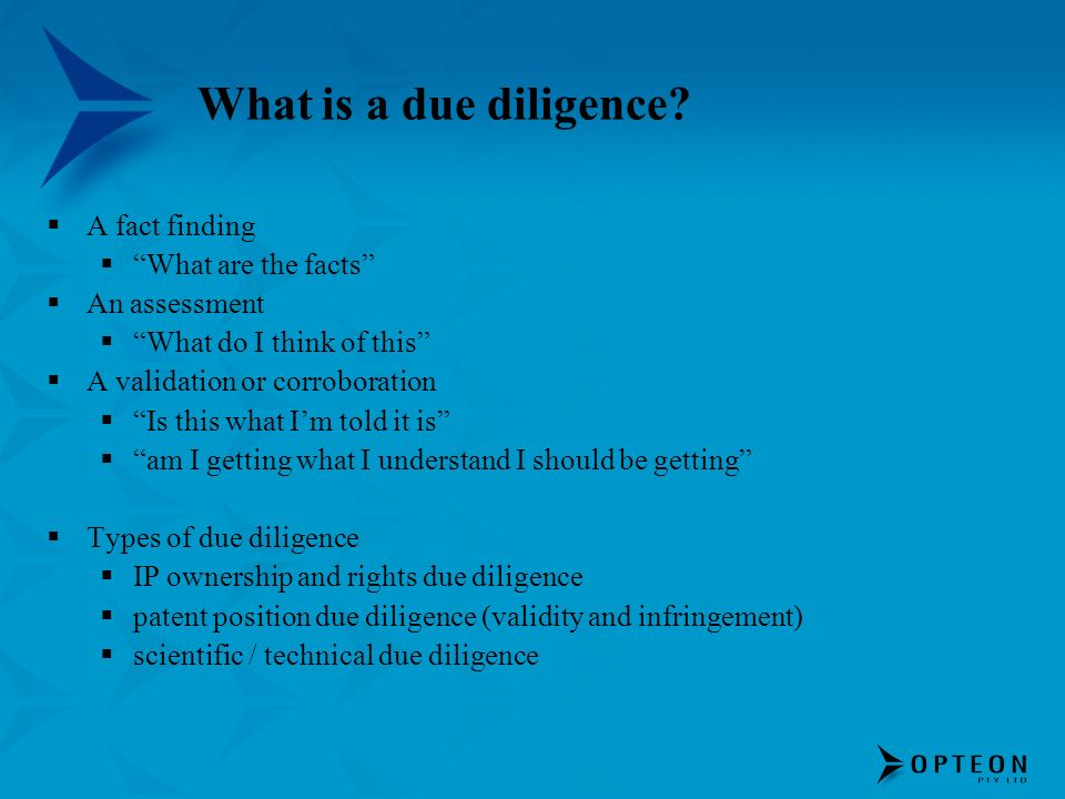 What is a due diligence.