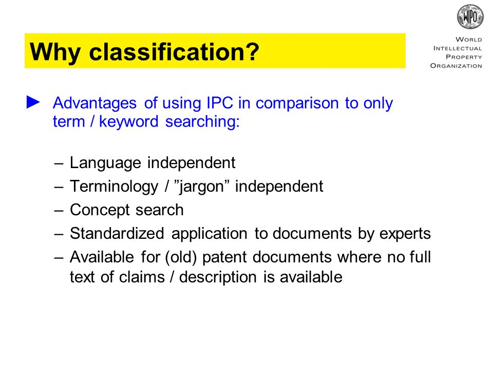 Why classification.