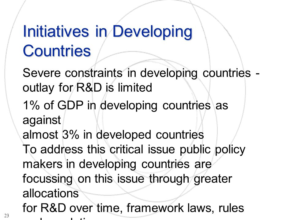 Initiatives in Developing Countries Severe constraints in developing countries - outlay for R&D is limited 1% of GDP in developing countries as against almost 3% in developed countries To address this critical issue public policy makers in developing countries are focussing on this issue through greater allocations for R&D over time, framework laws, rules and regulations 23