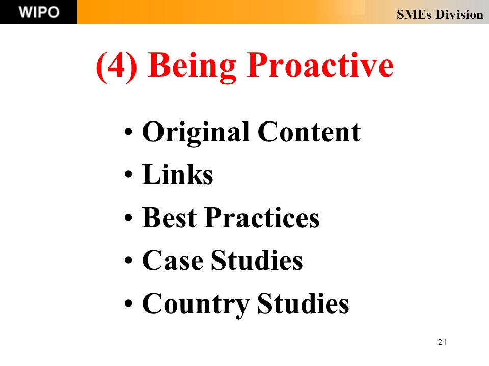 SMEs Division 21 (4) Being Proactive Original Content Links Best Practices Case Studies Country Studies