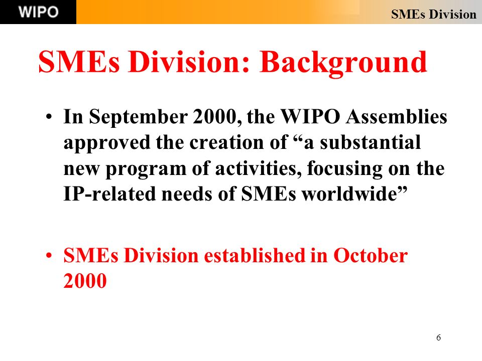 SMEs Division 6 SMEs Division: Background In September 2000, the WIPO Assemblies approved the creation of a substantial new program of activities, focusing on the IP-related needs of SMEs worldwide SMEs Division established in October 2000