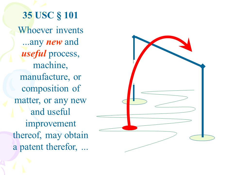 35 USC § 101 Whoever invents...any new and useful process, machine, manufacture, or composition of matter, or any new and useful improvement thereof, may obtain a patent therefor,...