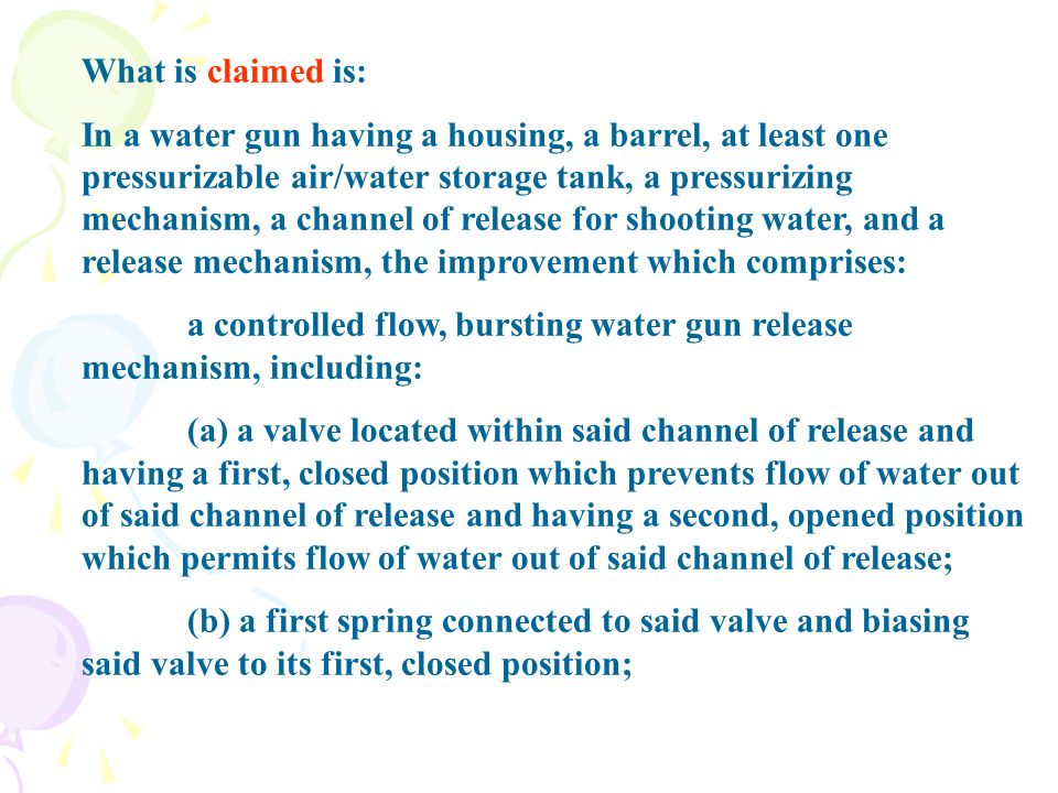 What is claimed is: In a water gun having a housing, a barrel, at least one pressurizable air/water storage tank, a pressurizing mechanism, a channel of release for shooting water, and a release mechanism, the improvement which comprises: a controlled flow, bursting water gun release mechanism, including: (a) a valve located within said channel of release and having a first, closed position which prevents flow of water out of said channel of release and having a second, opened position which permits flow of water out of said channel of release; (b) a first spring connected to said valve and biasing said valve to its first, closed position;