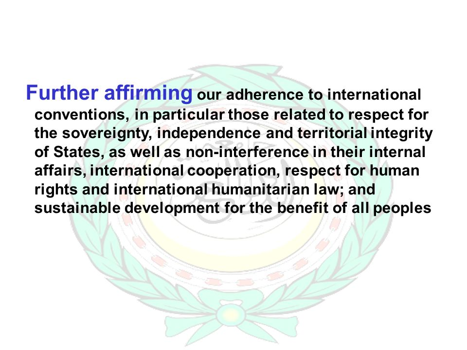 Further affirming our adherence to international conventions, in particular those related to respect for the sovereignty, independence and territorial integrity of States, as well as non-interference in their internal affairs, international cooperation, respect for human rights and international humanitarian law; and sustainable development for the benefit of all peoples