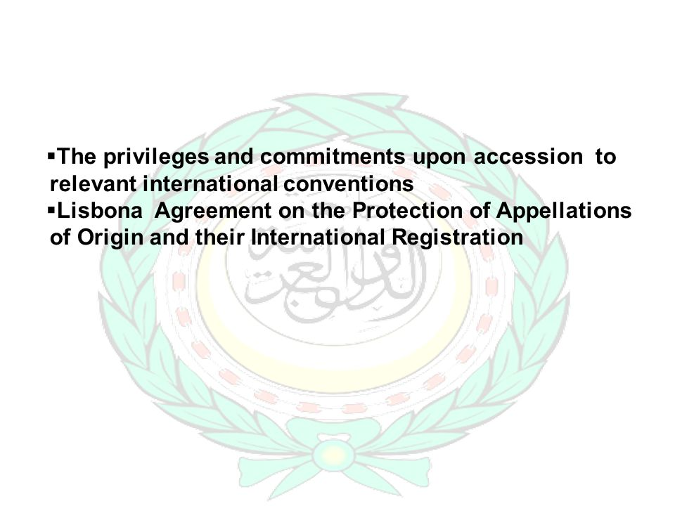The privileges and commitments upon accession to relevant international conventions Lisbona Agreement on the Protection of Appellations of Origin and their International Registration