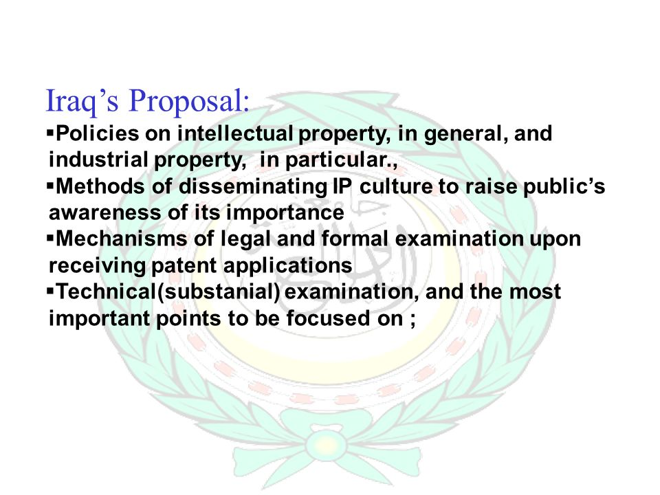 Iraqs Proposal: Policies on intellectual property, in general, and industrial property, in particular., Methods of disseminating IP culture to raise publics awareness of its importance Mechanisms of legal and formal examination upon receiving patent applications Technical(substanial) examination, and the most important points to be focused on ;