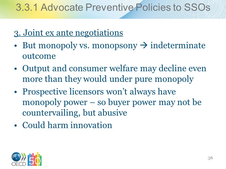 3.3.1 Advocate Preventive Policies to SSOs 3. Joint ex ante negotiations But monopoly vs.