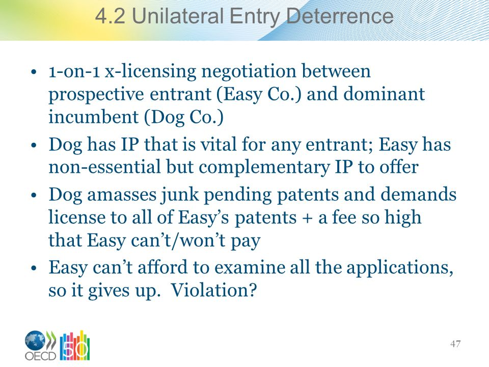 4.2 Unilateral Entry Deterrence 1-on-1 x-licensing negotiation between prospective entrant (Easy Co.) and dominant incumbent (Dog Co.) Dog has IP that is vital for any entrant; Easy has non-essential but complementary IP to offer Dog amasses junk pending patents and demands license to all of Easys patents + a fee so high that Easy cant/wont pay Easy cant afford to examine all the applications, so it gives up.