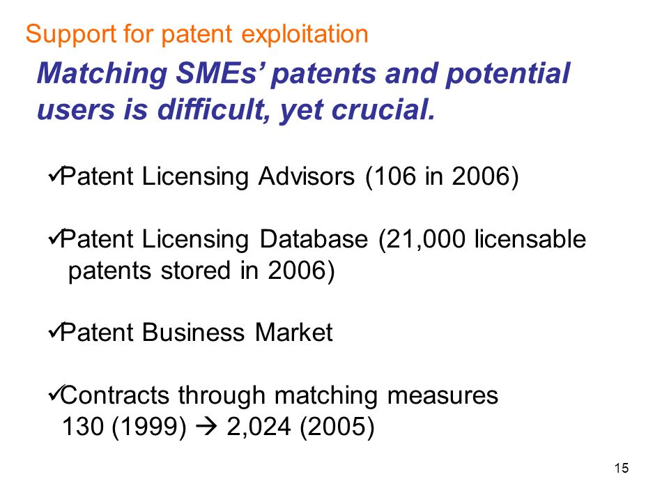 15 Support for patent exploitation Matching SMEs patents and potential users is difficult, yet crucial.