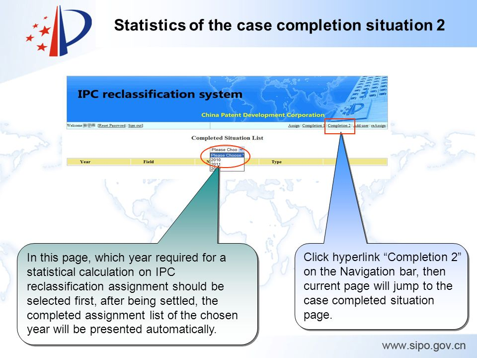 Statistics of the case completion situation 2 Click hyperlink Completion 2 on the Navigation bar, then current page will jump to the case completed situation page.
