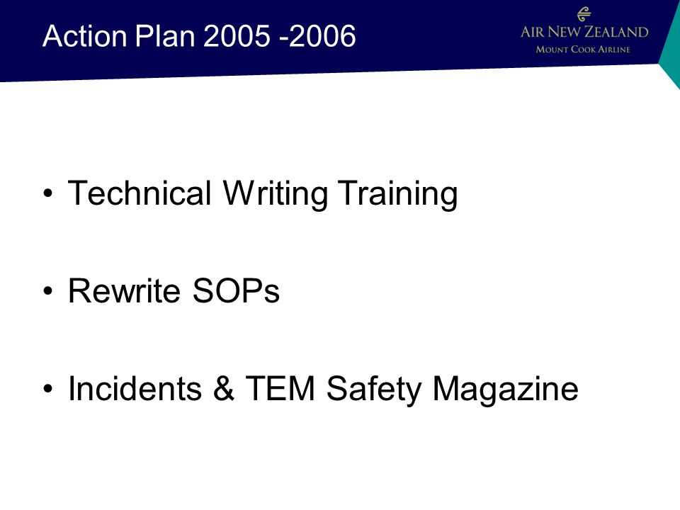 Action Plan 2005 -2006 Technical Writing Training Rewrite SOPs Incidents & TEM Safety Magazine