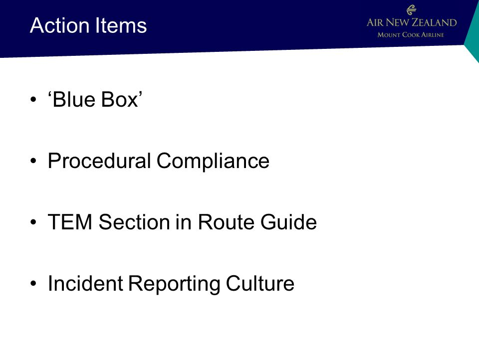 Action Items Blue Box Procedural Compliance TEM Section in Route Guide Incident Reporting Culture