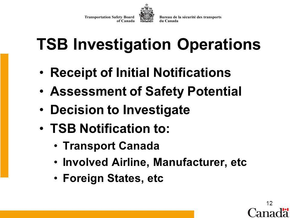 12 TSB Investigation Operations Receipt of Initial Notifications Assessment of Safety Potential Decision to Investigate TSB Notification to: Transport Canada Involved Airline, Manufacturer, etc Foreign States, etc