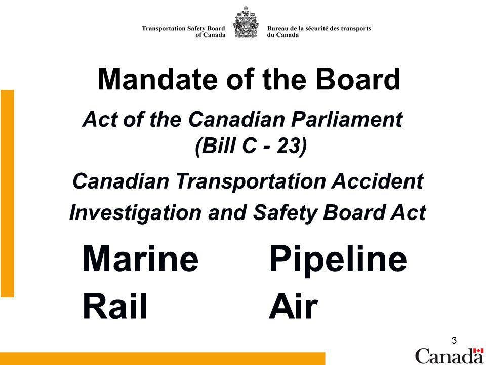 3 Mandate of the Board Act of the Canadian Parliament (Bill C - 23) Canadian Transportation Accident Investigation and Safety Board Act MarinePipeline AirRail
