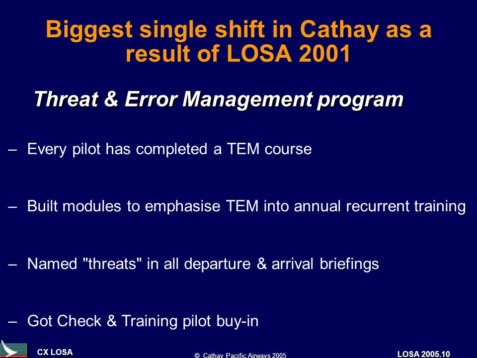 CX LOSA © Cathay Pacific Airways 2005 LOSA 2005.10 Biggest single shift in Cathay as a result of LOSA 2001 Threat & Error Management program –Every pilot has completed a TEM course –Built modules to emphasise TEM into annual recurrent training –Named threats in all departure & arrival briefings –Got Check & Training pilot buy-in