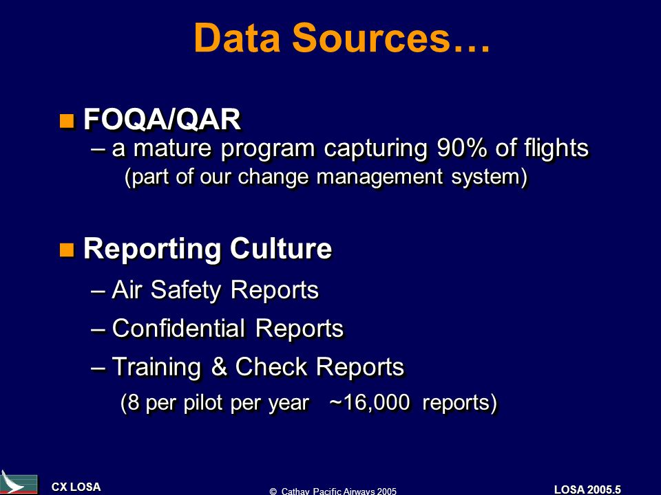 CX LOSA © Cathay Pacific Airways 2005 LOSA 2005.5 Data Sources… FOQA/QAR FOQA/QAR –a mature program capturing 90% of flights (part of our change management system) FOQA/QAR FOQA/QAR –a mature program capturing 90% of flights (part of our change management system) Reporting Culture –Air Safety Reports –Confidential Reports –Training & Check Reports (8 per pilot per year ~16,000 reports) Reporting Culture –Air Safety Reports –Confidential Reports –Training & Check Reports (8 per pilot per year ~16,000 reports)