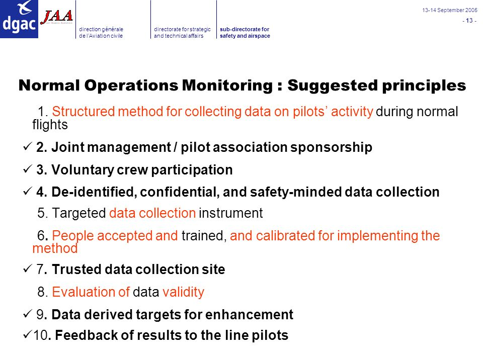 September 2005 direction générale de lAviation civile directorate for strategic and technical affairs sub-directorate for safety and airspace Normal Operations Monitoring : Suggested principles 1.