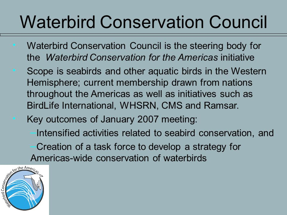 Waterbird Conservation Council is the steering body for the Waterbird Conservation for the Americas initiative Scope is seabirds and other aquatic birds in the Western Hemisphere; current membership drawn from nations throughout the Americas as well as initiatives such as BirdLife International, WHSRN, CMS and Ramsar.