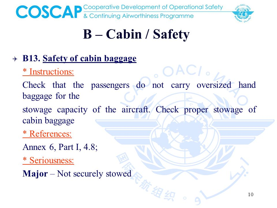 10 B – Cabin / Safety B13.