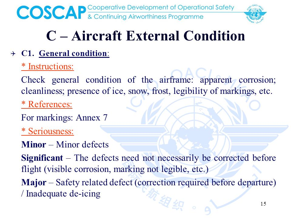 15 C – Aircraft External Condition C1.