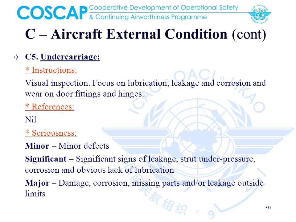30 C – Aircraft External Condition (cont) C5. Undercarriage: * Instructions: Visual inspection.
