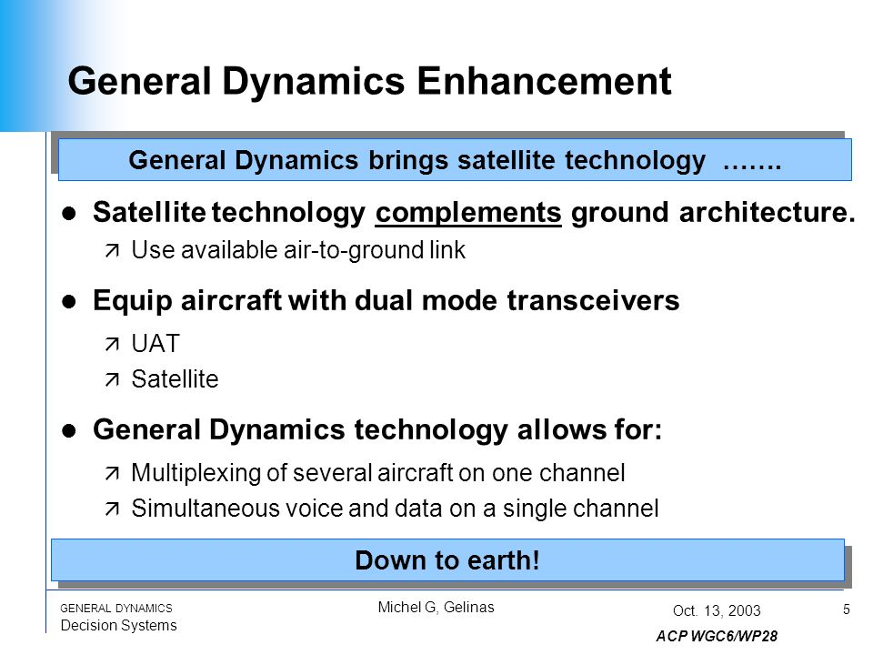 5 GENERAL DYNAMICS Decision Systems Michel G, Gelinas Oct.