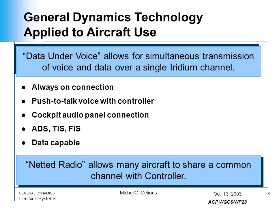 8 GENERAL DYNAMICS Decision Systems Michel G, Gelinas Oct.