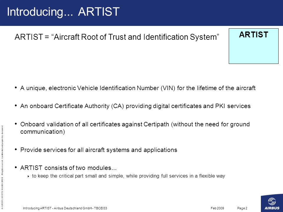 © AIRBUS DEUTSCHLAND GMBH. All rights reserved. Confidential and proprietary document.