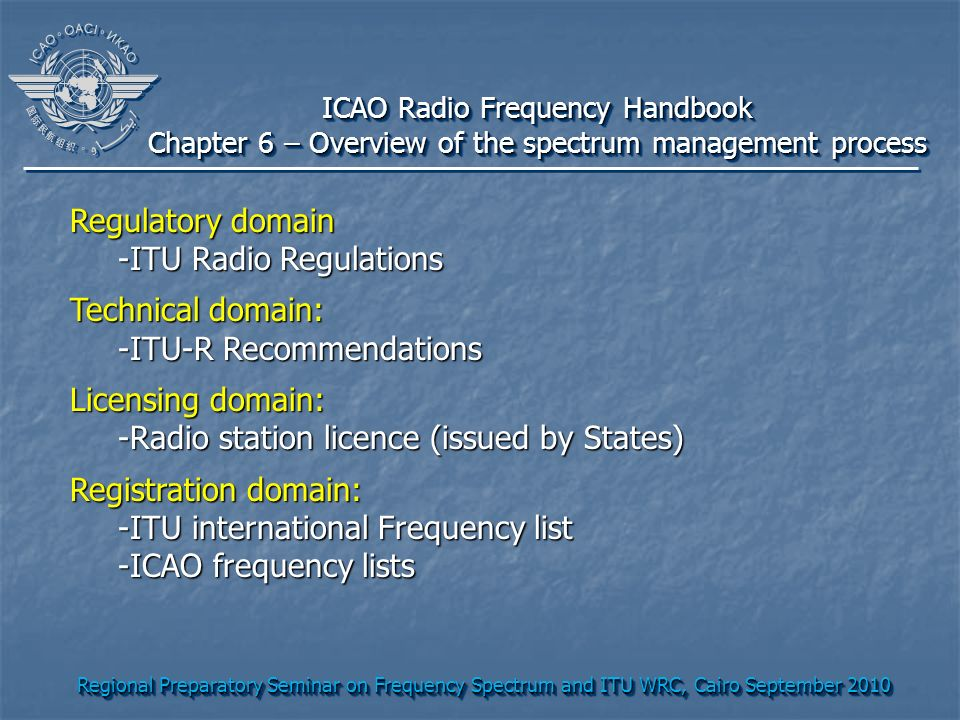 Regional Preparatory Seminar on Frequency Spectrum and ITU WRC, Cairo September 2010 ICAO Radio Frequency Handbook Chapter 6 – Overview of the spectrum management process ICAO Radio Frequency Handbook Chapter 6 – Overview of the spectrum management process Regulatory domain -ITU Radio Regulations Technical domain: -ITU-R Recommendations Licensing domain: -Radio station licence (issued by States) Registration domain: -ITU international Frequency list -ICAO frequency lists