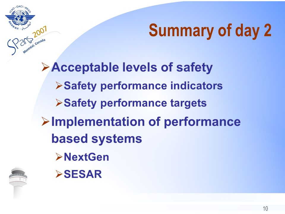 10 Summary of day 2 Acceptable levels of safety Safety performance indicators Safety performance targets Implementation of performance based systems NextGen SESAR